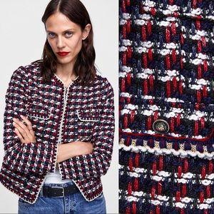 NWOT ZARA Red Blue Tweed Textured Weave Coat S